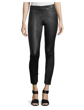 Leather Zip Cuffs Ankle Leggings by Vince