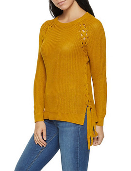 Lace Up Crew Neck Sweater by Rainbow