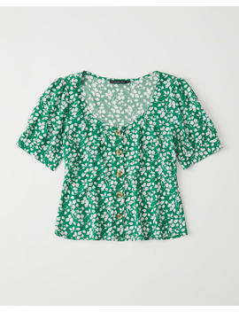 Scoopneck Button Up Blouse by Abercrombie & Fitch