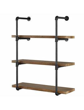"Yuanshikj 2 Pc (42"" Tall) (12""Deep) Industrial Wall Mount Iron Pipe Shelf Shelves Shelving Bracket Vintage Retro Black Diy Open Bookshelf Diy Storage Offcie Room Kitchen (2 Pcs 4 Tier Hardware Only) by Yuanshikj"