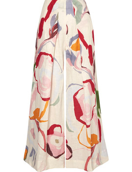 Jordana Pleated Floral Print Linen Wide Leg Pants by Cult Gaia
