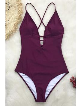 Charming Plum One Piece Swimsuit by Cupshe