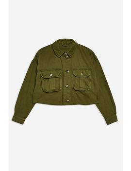 Khaki Raw Hem Shacket by Topshop