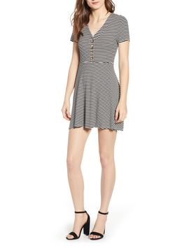 Stripe Front Button Minidress by Speechless