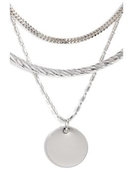Short Disc Layer Pendant Necklace by Halogen®