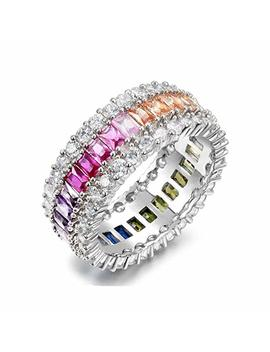 Nyc Sterling Women's Luxury Luxury Emerald Cut Rainbow Eternity Band In Sterling Silver by Nyc Sterling