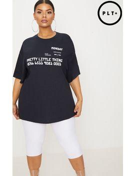 Prettylittlething Plus Black Slogan Oversized T Shirt by Prettylittlething