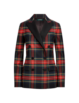 Tartan Stretch Wool Blazer by Ralph Lauren