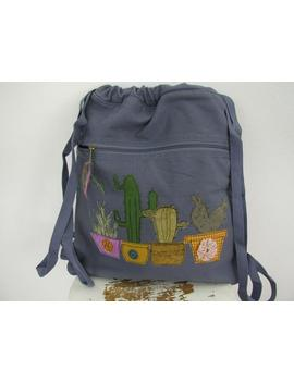 Canvas  Backpack With Cactus Appliqué, Washed Blue Tote, 100 Percents Cotton by Etsy