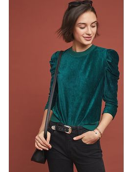 Velvet Puff Sleeved Sweatshirt by Moon River