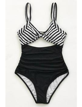 Black And White Ruched One Piece Swimsuit by Cupshe