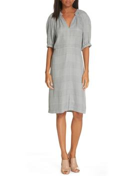 V Neck Check Print Dress by Lewit
