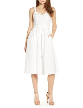 Poplin Tie Back Midi Dress by English Factory