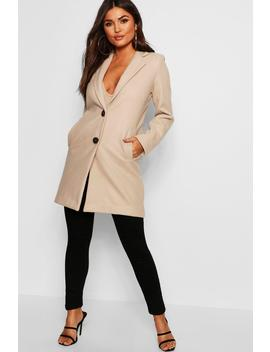 Button Through Wool Look Coat by Boohoo