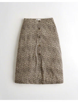 Ultra High Rise Button Front Midi Skirt by Hollister