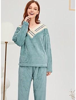 Contrast Stripe Plush Pajama Set by Sheinside