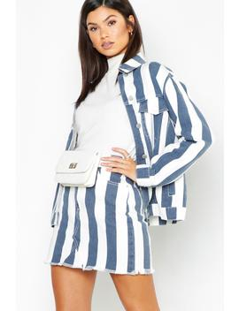 Navy Stripe Denim Mini Skirt by Boohoo