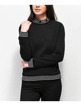 Obey Quincy Black Mock Neck Sweatshirt by Obey