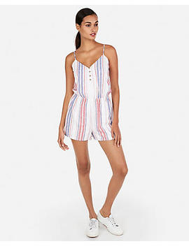 Stripe Button Front Linen Blend Romper by Express
