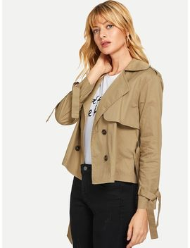 Double Breasted Belted Short Trench Coat by Shein