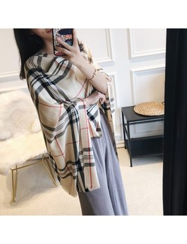 Autumn And Winter New Classic British Plaid Cotton Imitation Cashmere Scarf Female Shawl Dual Use by Ali Express