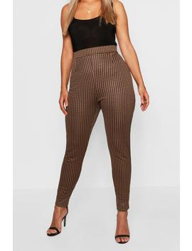 Plus Dogtooth Check Legging by Boohoo