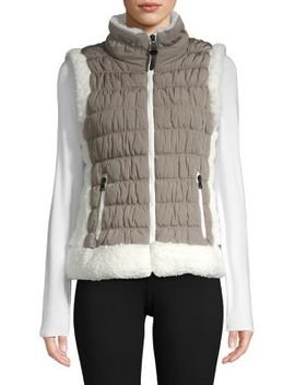 Faux Fur Quilted Puffer Vest by Calvin Klein Performance