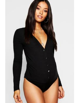 Maternity Rib Long Sleeve Button Bodysuit by Boohoo