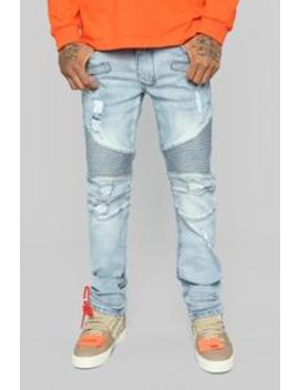 Tyrelle Moto Jeans   Medium Blue by Fashion Nova