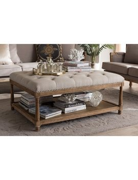 Baxton Studio Carlotta Oak Beige Linen Coffee Table Ottoman by Baxton Studio