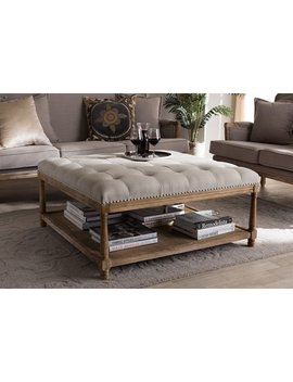 Baxton Studio Carlotta Oak Beige Linen Square Coffee Table Ottoman by Baxton Studio