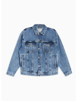 Oversized Mid Wash Denim Jacket by Topman