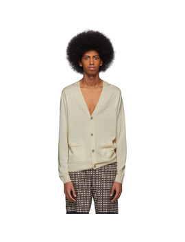 Beige Merino Nagano Cardigan by Dries Van Noten
