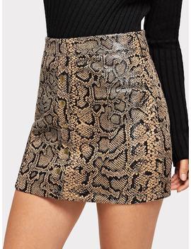 Zip Up Snake Print Skirt by Sheinside