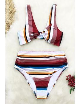 Colorful Stripe High Waisted Bikini by Cupshe