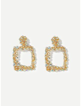 Rhinestone Engraved Square Drop Earrings by Sheinside