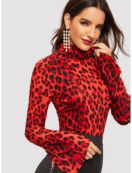 High Neck Bell Sleeve Leopard Tee by Shein