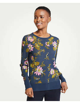 Petite Floral Jacquard Sweater by Ann Taylor