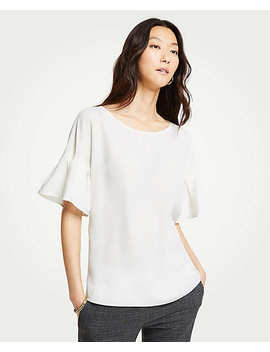 Petite Flutter Sleeve Top by Ann Taylor