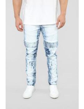 "Devlin Moto Jeans 30"" Inseam   Light Indigo by Fashion Nova"