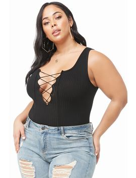 Plus Size Ribbed Lace Up Bodysuit by Forever 21