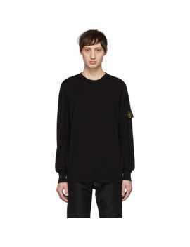 Black Knit Logo Badge Sweater by Stone Island