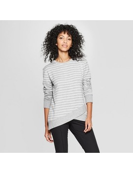 Women's Striped Long Sleeve Cross Front Pullover   A New Day™ Gray/Cream by A New Day