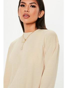 Nude Long Sleeve Mini T Shirt Dress by Missguided