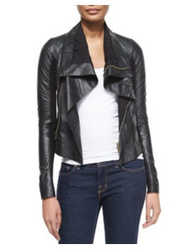 Shawl Collar Leather Biker Jacket by Rick Owens