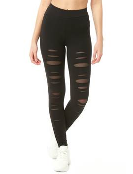 Distressed Knit Leggings by Forever 21