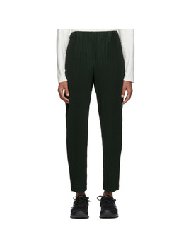 Green Pleated Tailored Trousers by Homme PlissÉ Issey Miyake