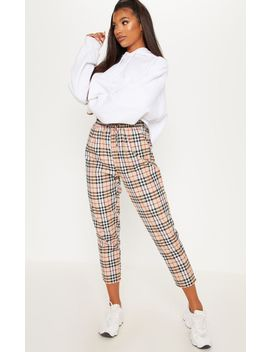 Tan Checked Casual Pants by Prettylittlething