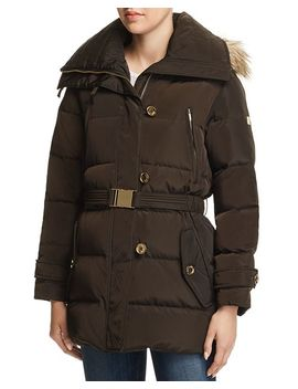 Belted Button Front Puffer Coat by Michael Kors