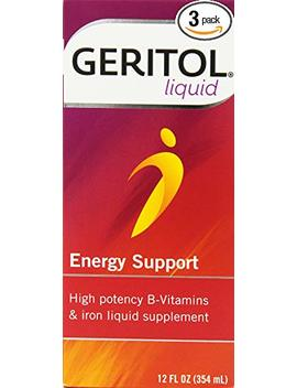 Geritol Liquid Energy Support, High Potency B Vitamin & Iron Liquid Supplement, 12 Ounce (354 Ml) (Pack Of 3) by Geritol